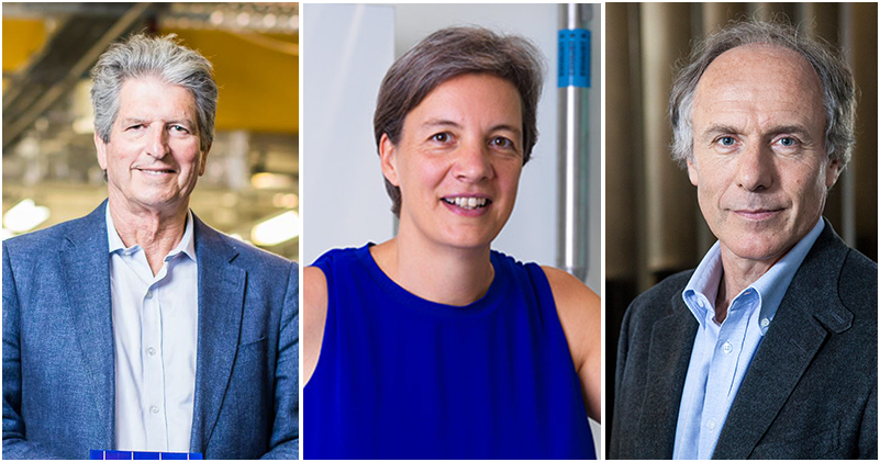 profile image of Professor Martin Green (left), 2018 Australian of the Year Professor Michelle Simmons (middle) and Australia's Chief Scientist Dr Alan Finkel (right).