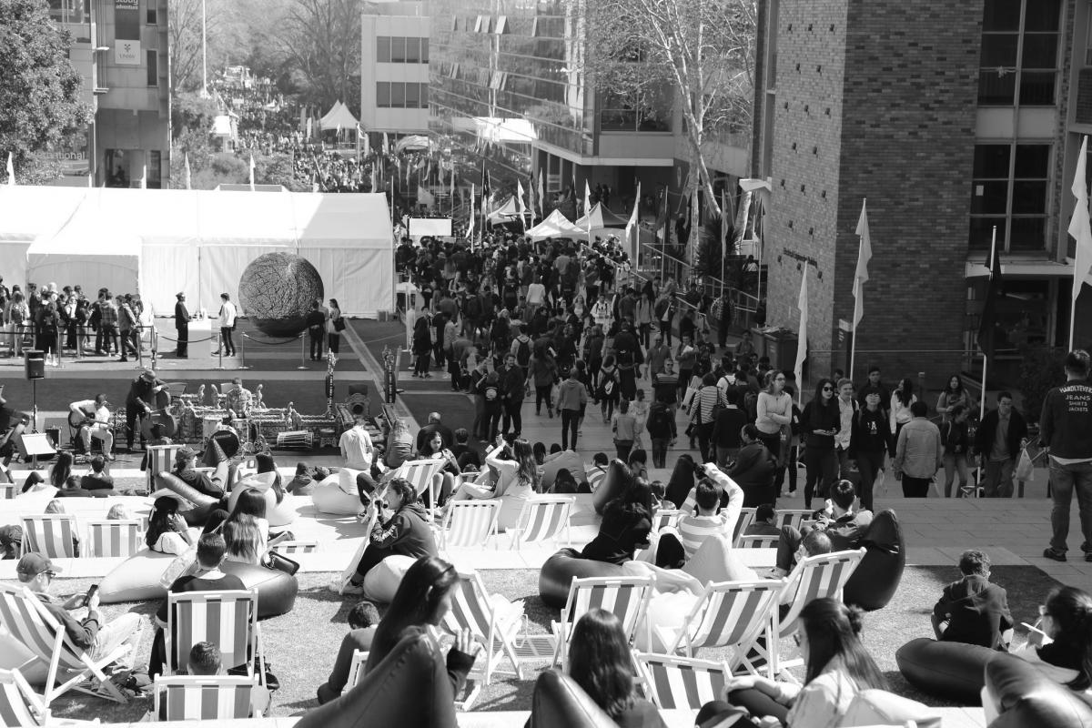 black and white photo of crowd at UNSW