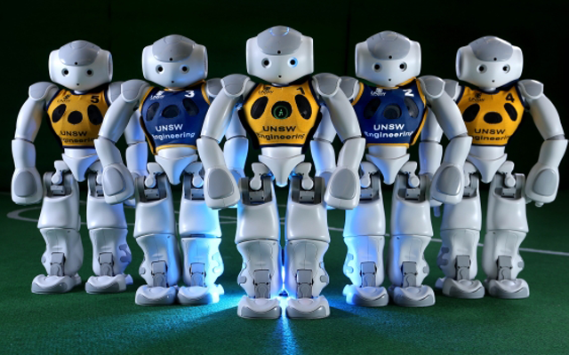 photo of robots soccer players