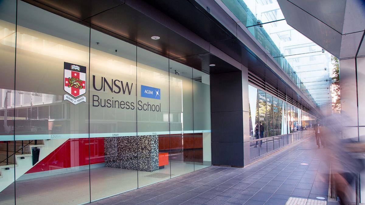 photof a buidlding with a UNSw logo on it